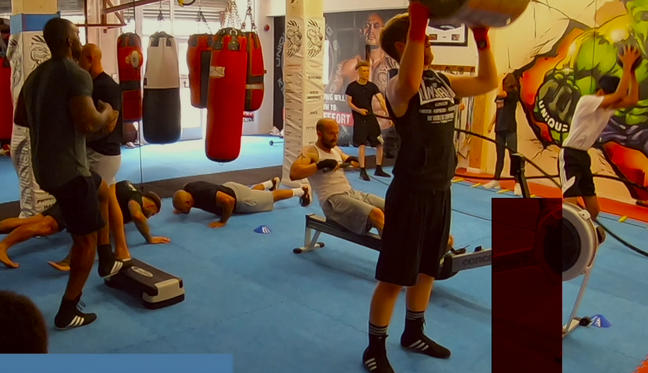 members doing cardio at adult boxing session at unique