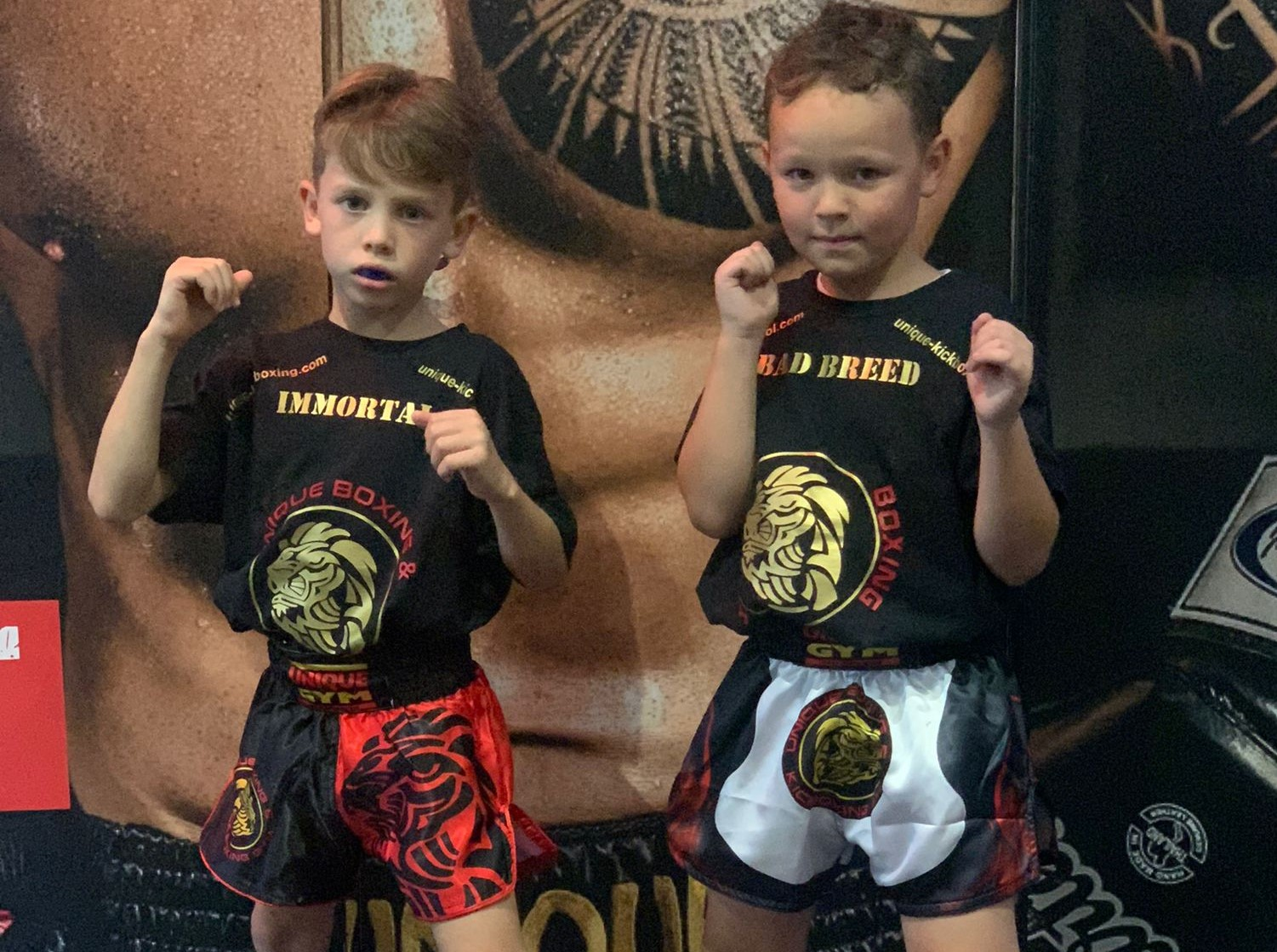 kids kickboxing and boxing stance